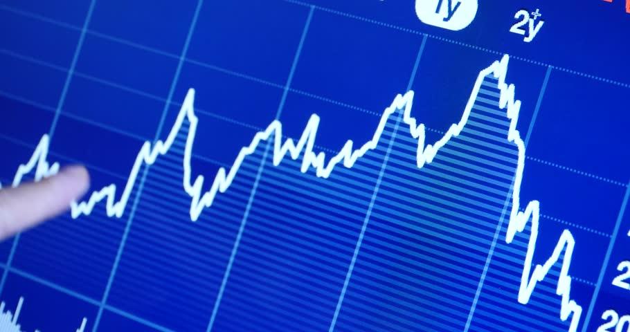 4k Finger pointing on financial trend diagram,finance business & economics,economy stock market. gh2_08261_4k - 4K stock footage clip