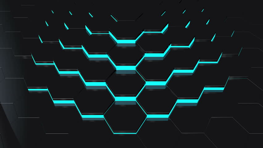 Abstract Background With Moving Black Hexagons With Blue ...