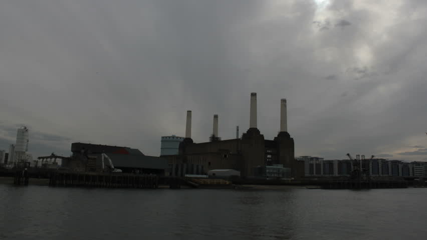 Battersea Power Station, looking up the river Thames, London, UK. - HD stock footage clip