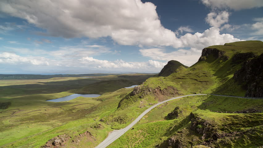 Time lapse of the beautiful quiraing range of mountains in isle of skye, scotland on sunny day. this is a super high quality 4k version at 4096x2304