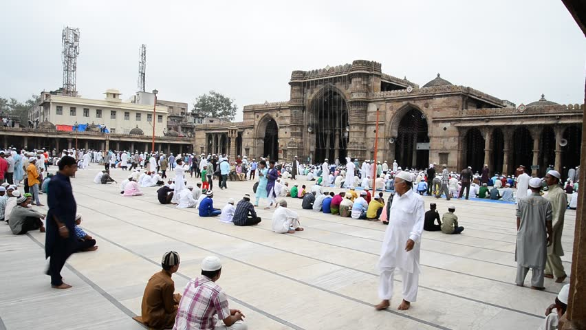 AHMEDABAD, GUJARAT/INDIA - 29TH TUESDAY JULY 2014 : Muslims getting ready for prayers on eid, in Jama Masjid,Ahmedabad, India.  - HD stock video clip