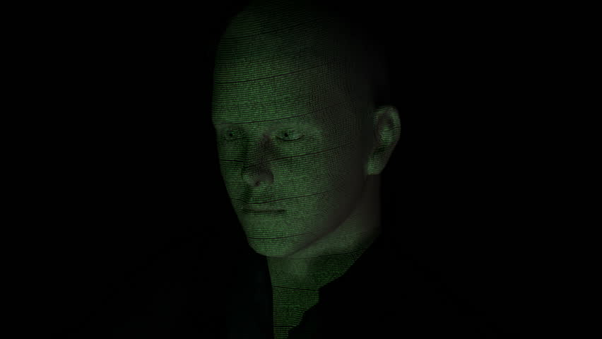 Cyber hacker with binary code projected on face