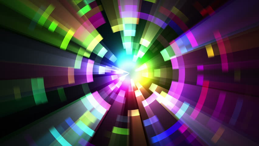 Loop animation of abstract psychedelic laser lights rotating in concentric circles. Rainbow spectrum of colors. Disco dancing and electronic music background. Also in 4K - see clip 6965977.