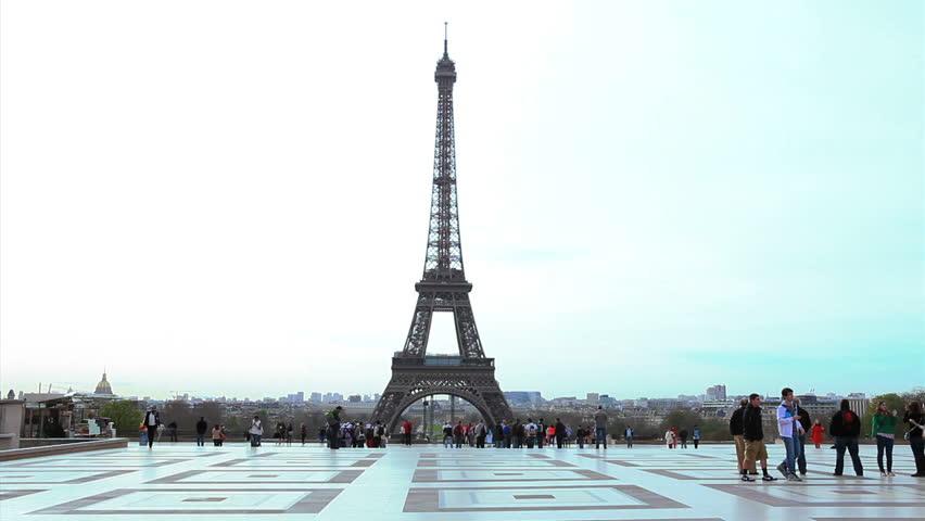 PARIS, FRANCE - APRIL 17: View of Eiffel Tower from Esplanade du Trocadero, Paris, on 17 April 2013. | Shutterstock HD Video #6976225
