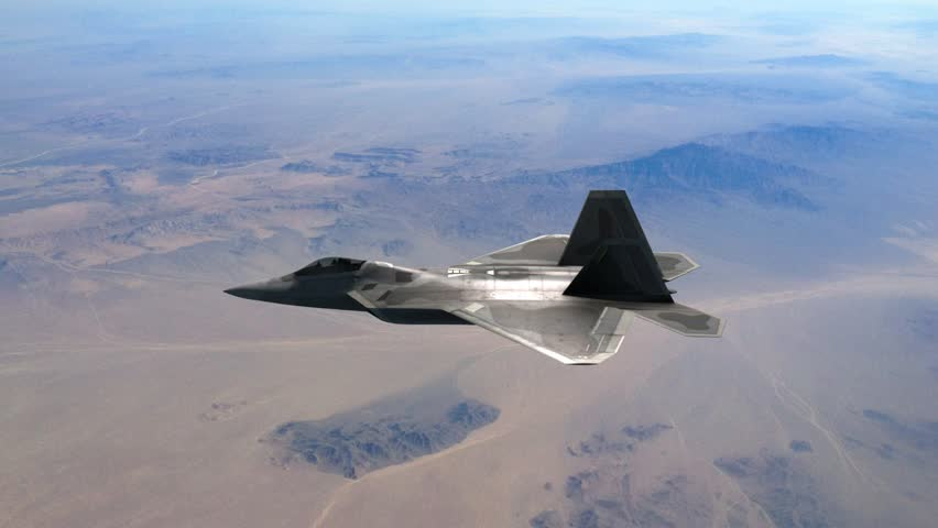 F-22 fighter jet banking, cgi effect, 50 fps, 1080p