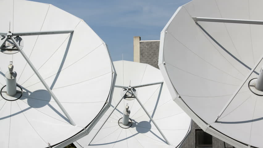 Time lapse of big communication satellite dishes - HD stock video clip