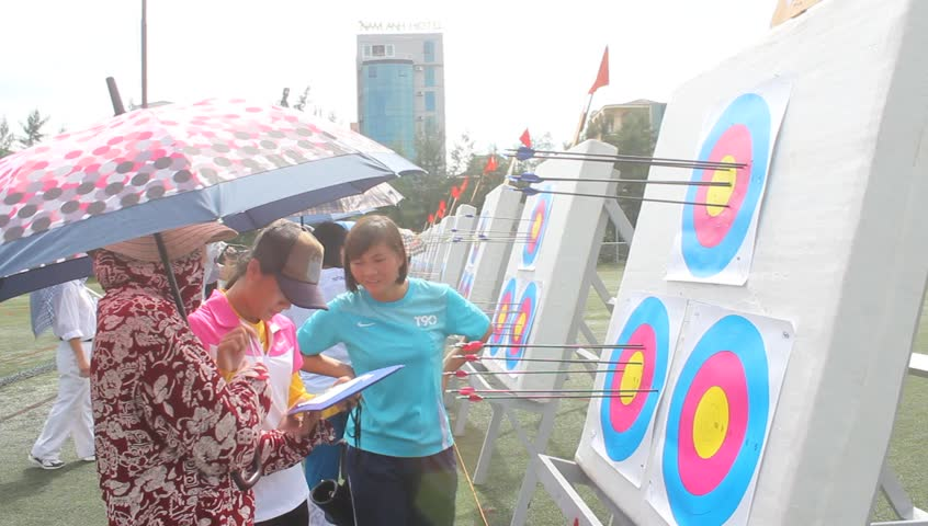 HAI DUONG, VIETNAM, JULY, 20: Sports competitions for archery. Athletes compete for the title of Vietnam championship on Julay, 20, 2014 in Hai Duong, Vietnam.