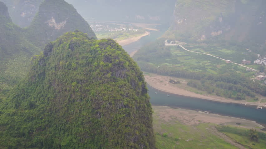 View from hill to Li river, China | Shutterstock HD Video #7018219