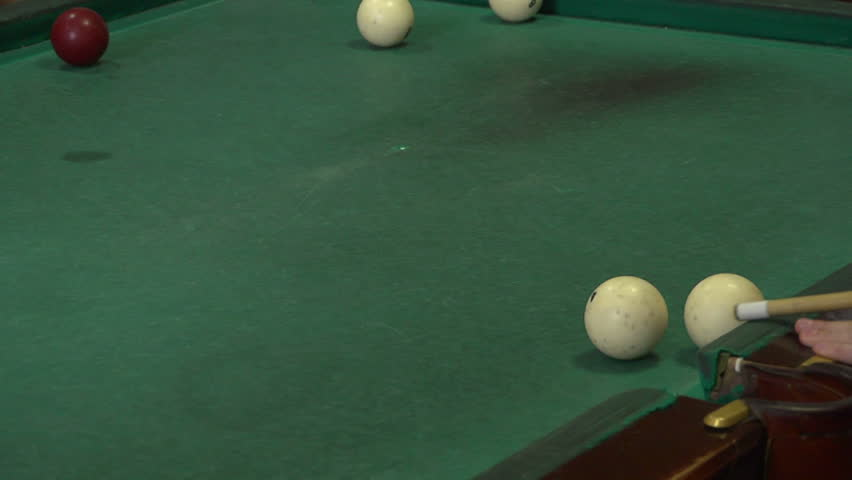 Game Pool. People play a game of billiards - HD stock footage clip