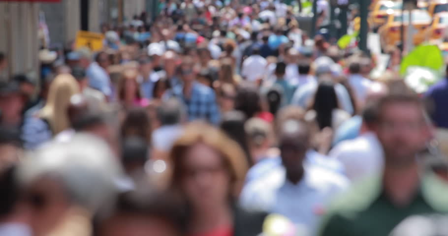 Crowd of people walking on New York City street blurred anonymous face - 4K stock video clip