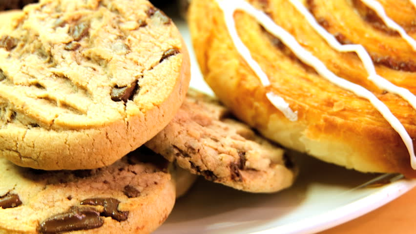 Indulgent choice of sweet & sticky cakes & cookies - HD stock footage clip