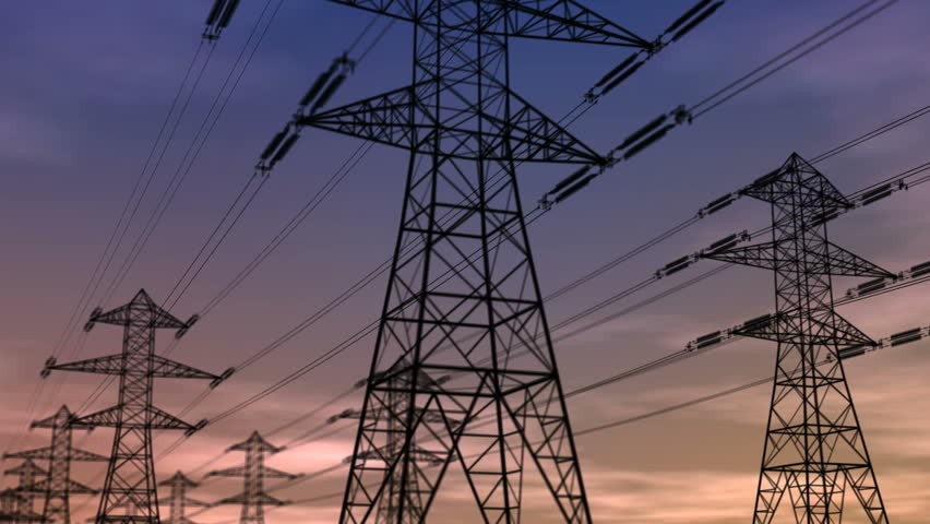Electricity Pylons - HD stock video clip