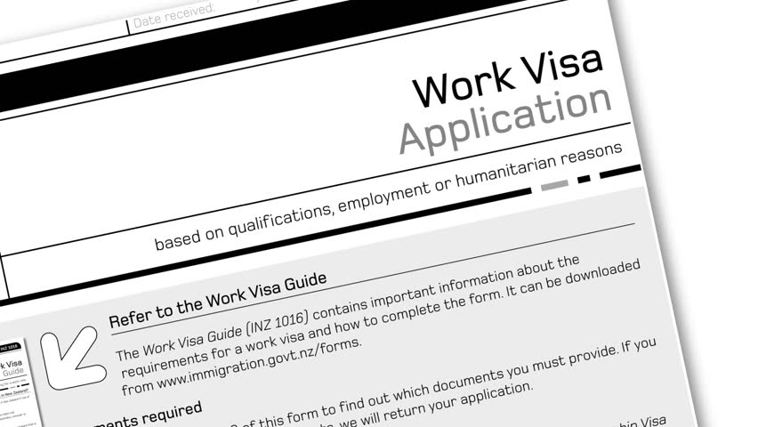 animation of work visa application document for temporary stay with approved stamp - HD stock video clip