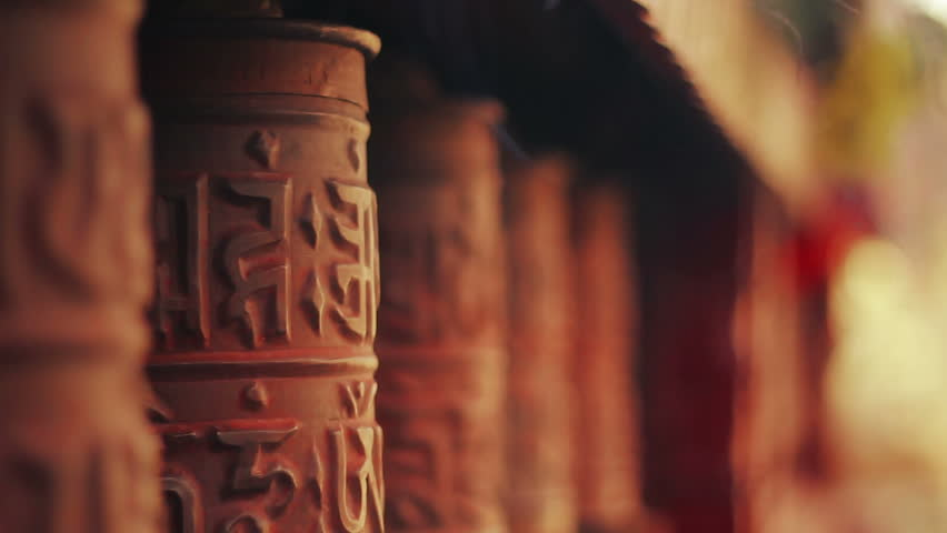 Spinning prayer wheels at the Nyingma monastery in Marpha, Mustang District, Nepal. | Shutterstock HD Video #7181218