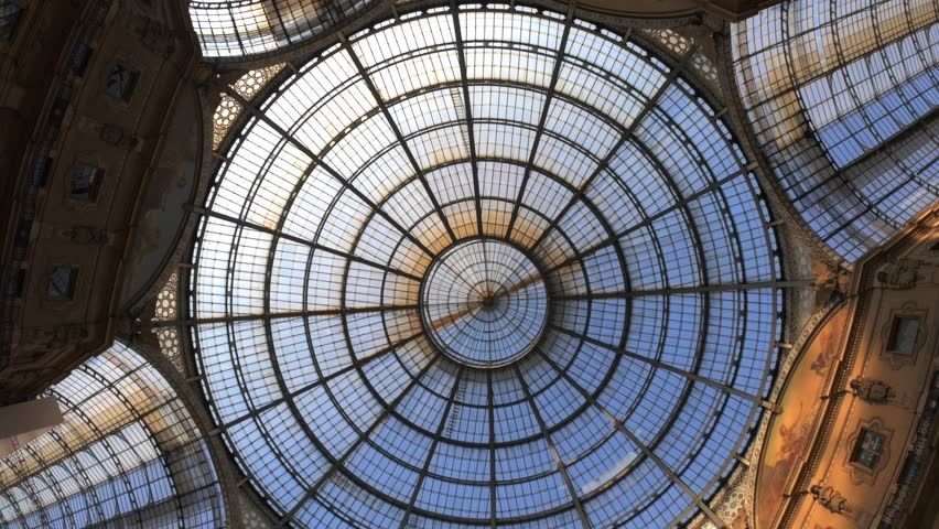Detail of ceiling of the Galleria Vittorio Emanuele in the center of the city of Milan, Italy. 4k, high resolution