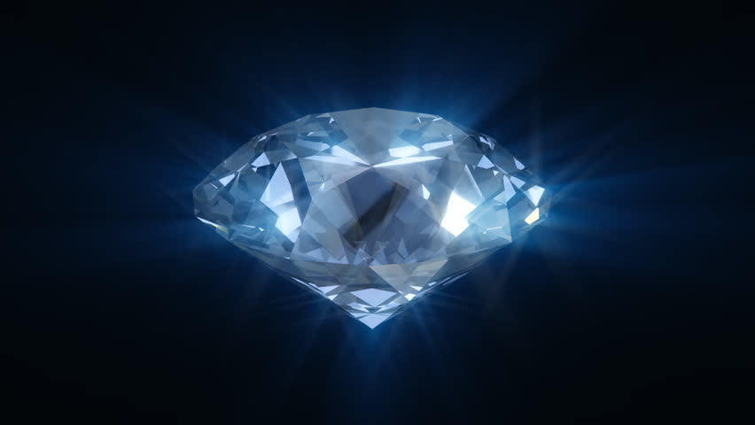 Spinning blue shining diamond - looped 3d animation - HD stock footage clip