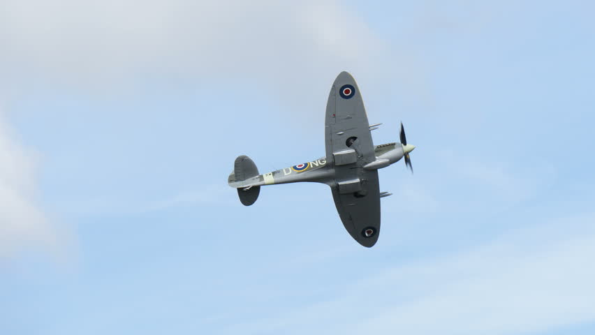 SKAVSTA, SWEDEN - AUG 31: Supermarine Spitfire Mk XVI flying by in an airshow, August 31, 2014 at Skavsta, Sweden, 4k.