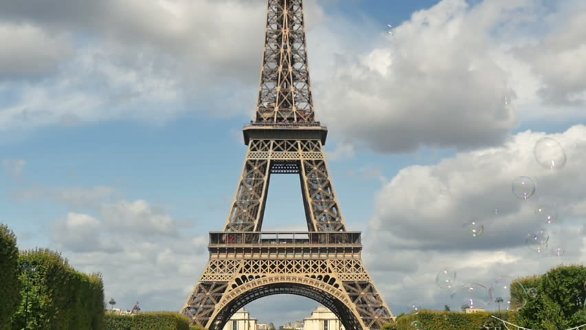 Soap bubbles in front of the Eiffel Tower in Paris   Shutterstock HD Video #7223104