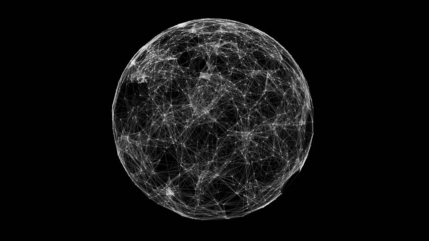 White technology sphere connectivity animation on black background