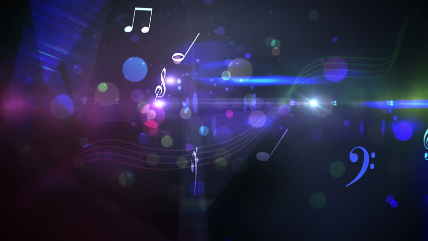 Digital animation of Colourful abstract music design on black - HD stock footage clip