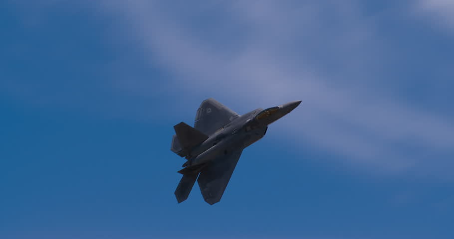 F22 Raptor fighter plane passing over camera | Shutterstock HD Video #7302520
