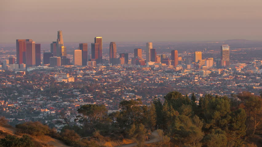 Los Angeles City Sunrise Timelapse. Reveals Downtown and Griffith Observatory. | Shutterstock HD Video #7304248