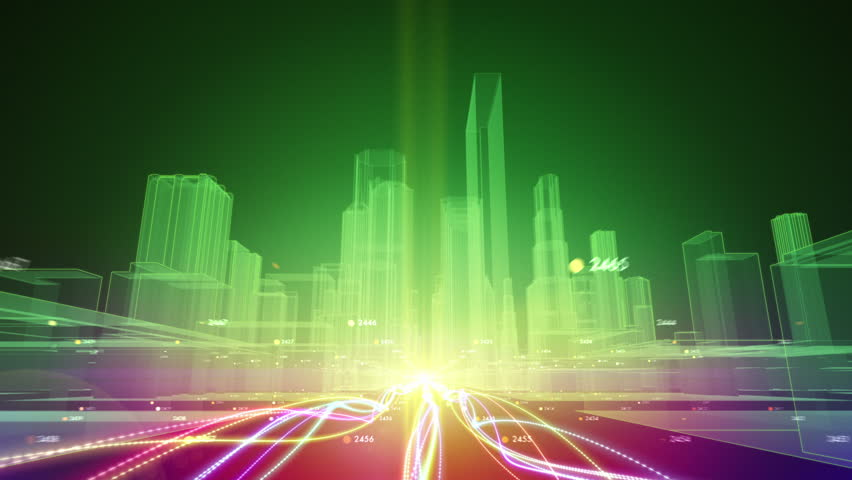 Abstract animation of fiber optic cables carrying information toward wireframe city buildings
