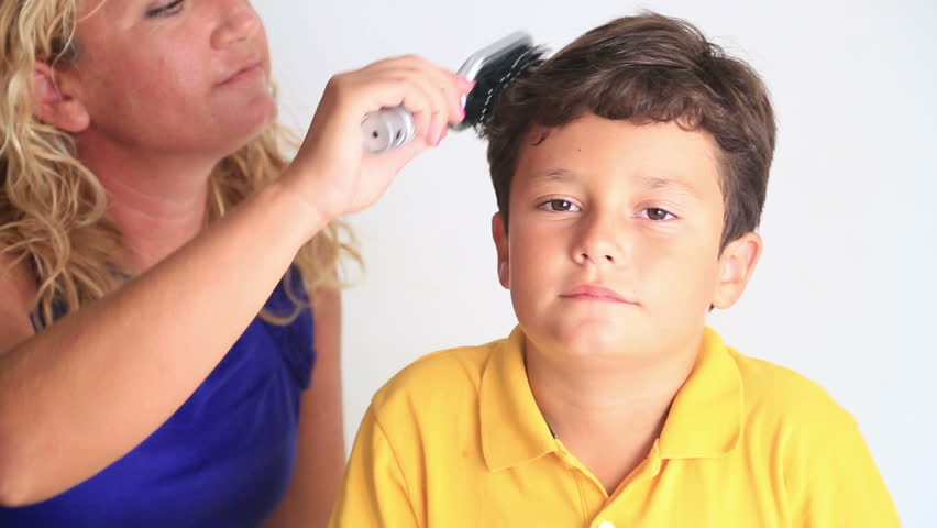 Mother Comb Little Boy's Hair - HD stock footage clip