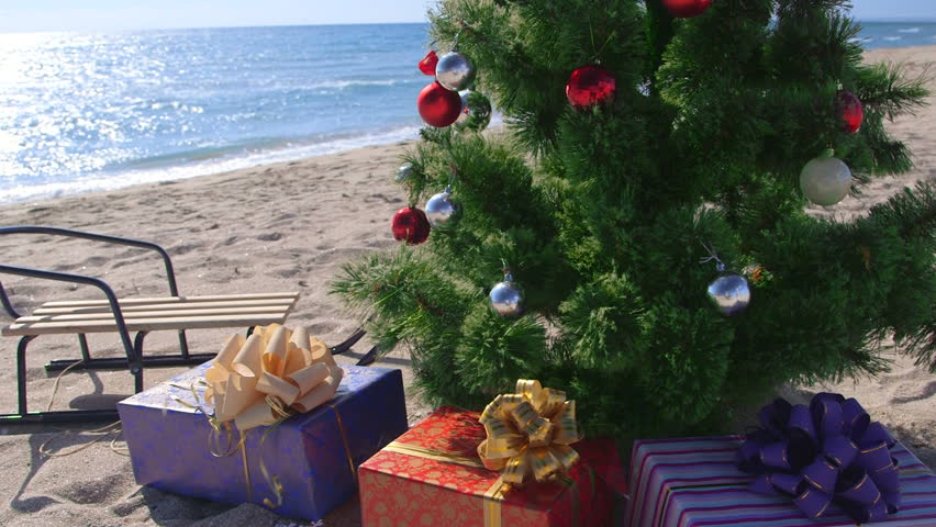 Dolly: Christmas holidays on the beach resort background - HD stock video clip