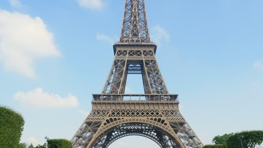 Eiffel tower tilt from champs de mars sunny day uhd 4k | Shutterstock HD Video #7354153