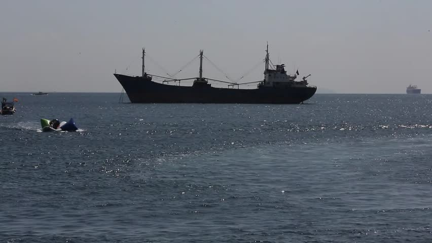 cargo ship. - HD stock footage clip