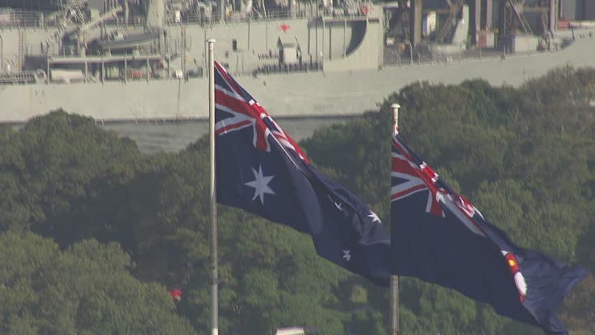 SYDNEY, NEW SOUTH WALES, AUSTRALIA - CIRCA 2013 -Close up of Australian flags atop the Sydney Harbour Bridge circa 2013 in Australia. - HD stock video clip