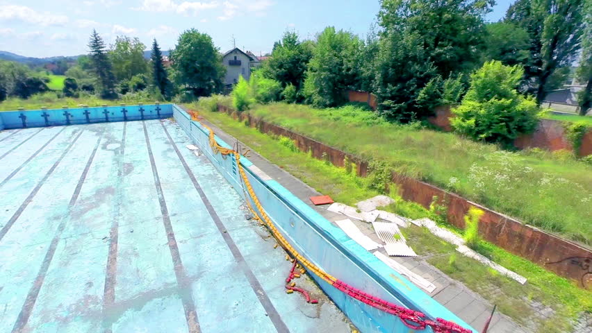 Ljubljana slovenia august 2014 panning over abandoned for What to do with old swimming pool