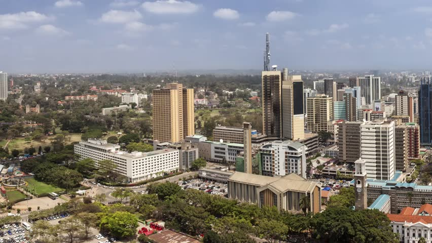 panning shot of downtown Nairobi, all building names and logos have been removed