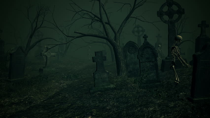 Graveyard Horror animation. Halloween death comes to life, skeleton walking through Graveyard. Scary video. Quicktime MOV/PhotoJPEG | Shutterstock HD Video #7410952
