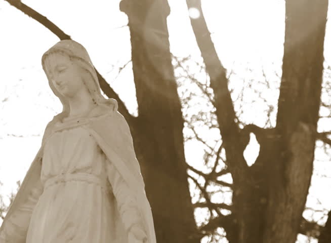 virgin mary statue at cemetery, dolly shot - NTSC - SD stock footage clip