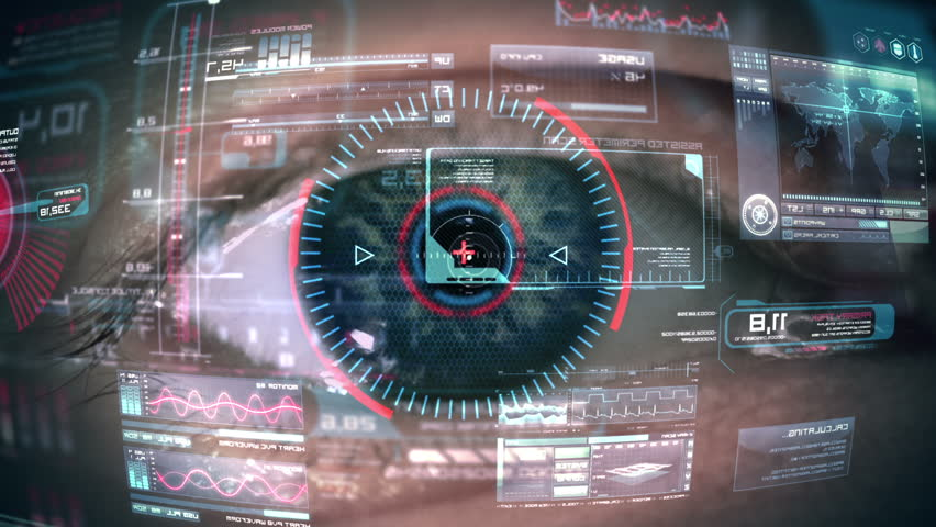 Close up to eyeball with futuristic, highly detailed 3d targeting system. Loop.