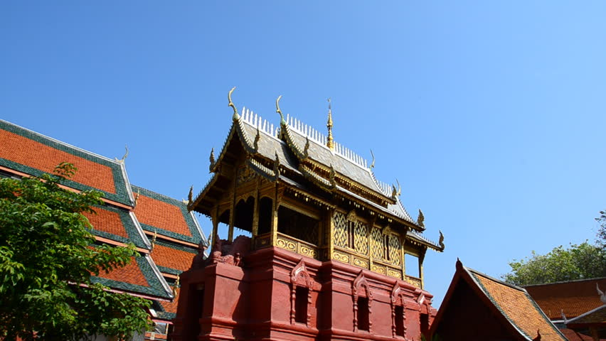 Wat Phrathat Hariphunchai temple, Lamphun, Thailand. High Definition Video Format. - HD stock video clip