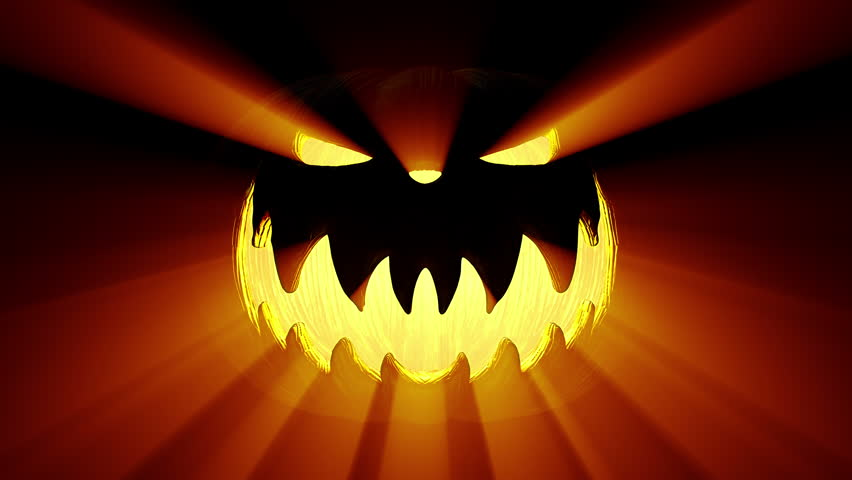 Shining Jack-O-Lantern. Halloween Pumpkin With Scary Face ...