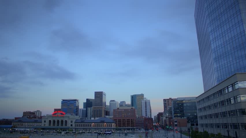 (1189) Downtown City Sunset Buildings Skyline Train Station Commuters, HDR video!