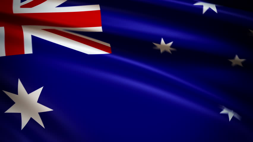 National flag of Australia waving in the wind - background animation for home videos, vacation movies, business presentation and DVD or Blu-ray disc menus - HD stock footage clip