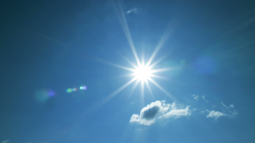 4K summer sun shining in blue sky with white clouds timelapse - 4K stock footage clip