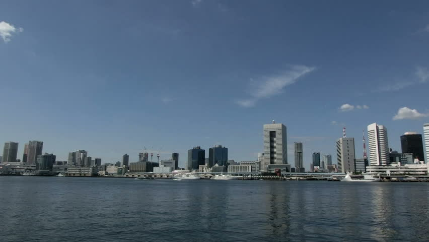 Time lapse of Tokyo's waterfront business district. - HD stock video clip