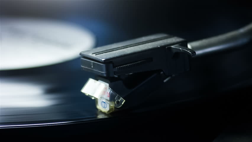 vinyl record playing and finishes playing.