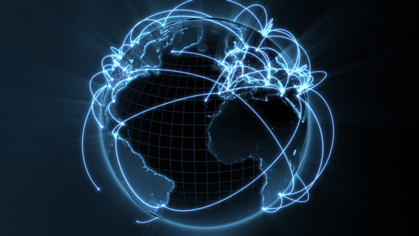 3d animation of a growing network across the world - blue version  - HD stock footage clip
