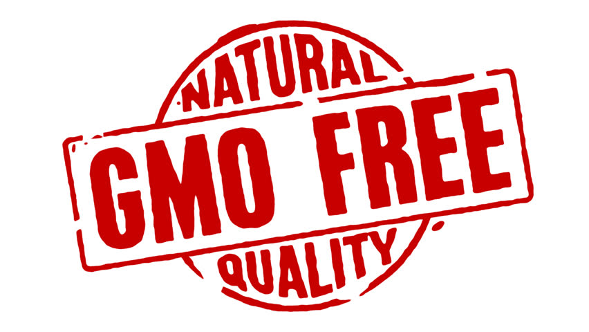 Red rubber stamp transition with the words Natural Quality GMO Free on a white, black and transparent background.