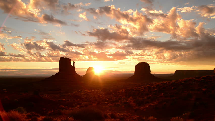 Monument Valley Sunrise 10 Timelapse Clouds USA - HD stock video clip