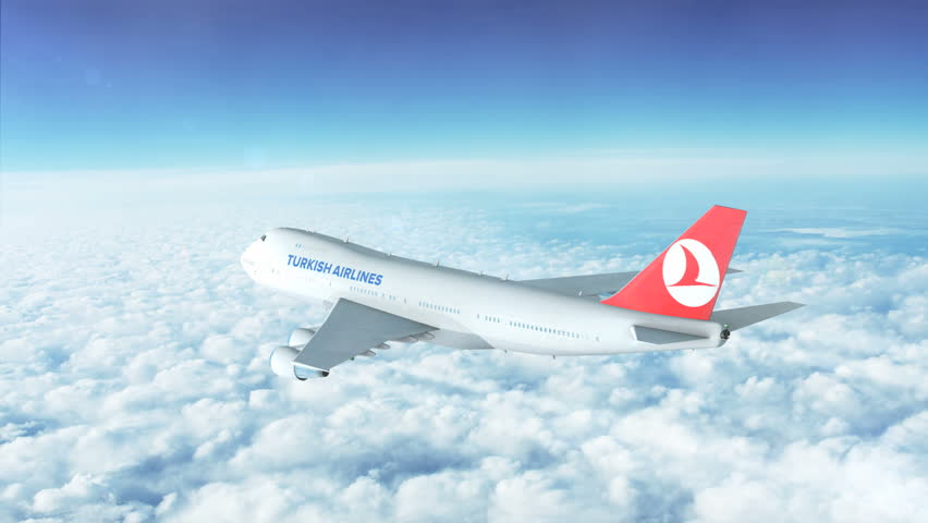 Editorial animation: Boeing plane high above the skies. 7 clips in one. pack. All major airlines: Turkish Airlines, Emirates, Qantas, Virgin, Lufthansa, British Airways. HD 1920x1080