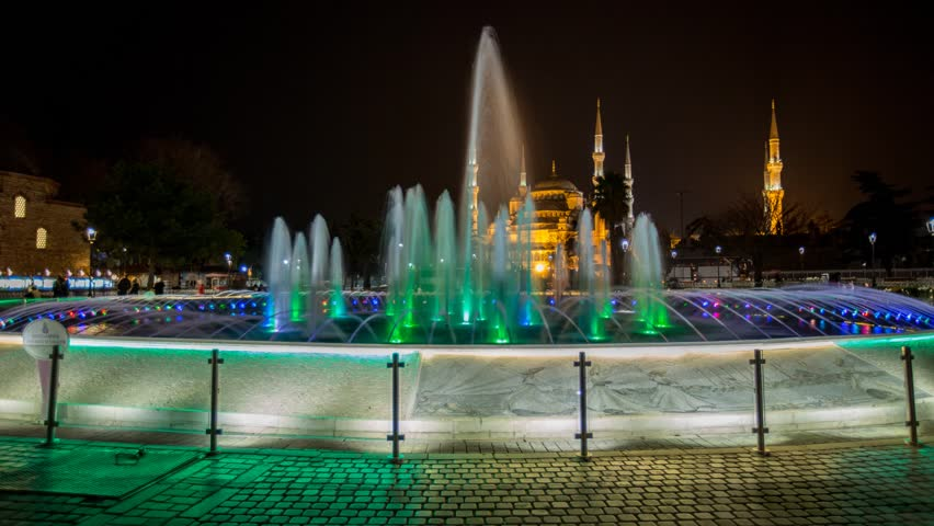 ISTANBUL - APRIL 04: Timelapse video of the fountain in front of the Blue Mosque made by night April 04, 2014 in Istanbul, Turkey. - HD stock video clip