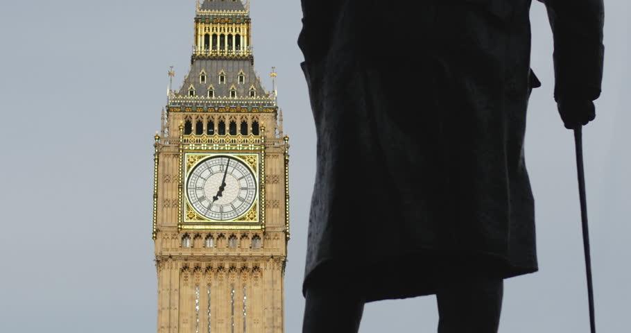 Big Ben and 2nd world war British prime minister Winston Churchill. June 2014.